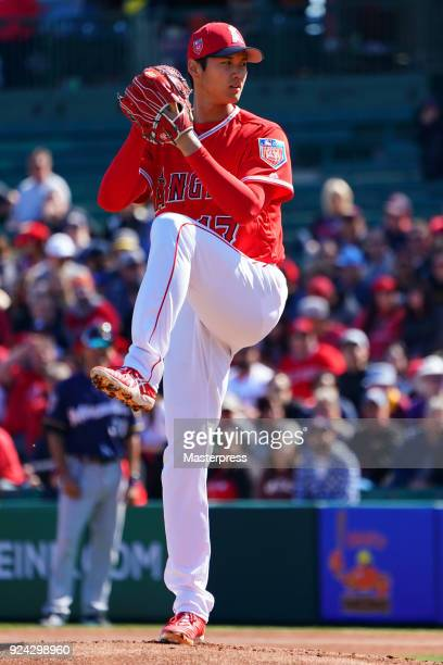 Shohei Ohtani of Los Angeles Angels pitches during a game against Milwaukee Brewers on February 24 2018 in Tempe Arizona