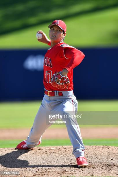 Shohei Ohtani of Los Angeles Angels pitches during the practice game against Milwaukee Brewers on March 2 2018 at the Maryvale Baseball Park in...