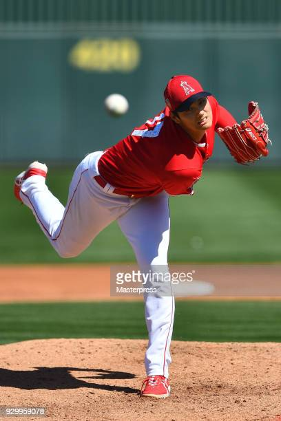Shohei Ohtani of Los Angeles Angels pitches during the practice game against the Tijuana Toros of the Mexican League on March 9 2018 in Tempe Arizona