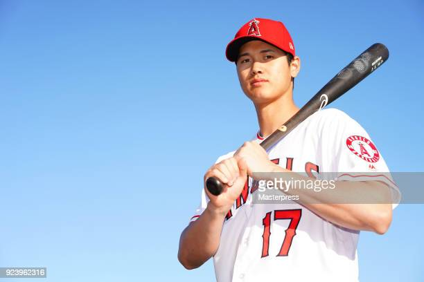 Shohei Ohtani of Los Angeles Angels poses for photographs during a training session on February 22 2018 in Tempe Arizona