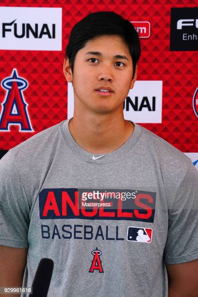 Shohei Ohtani of Los Angeles Angels speaks after the practice game against the Tijuana Toros of the Mexican League on March 9 2018 in Tempe Arizona