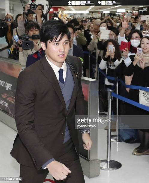 Shohei Ohtani of the Los Angeles Angels arrives at Narita airport near Tokyo on Nov 21 after his AL Rookie of the Yearwinning season ==Kyodo