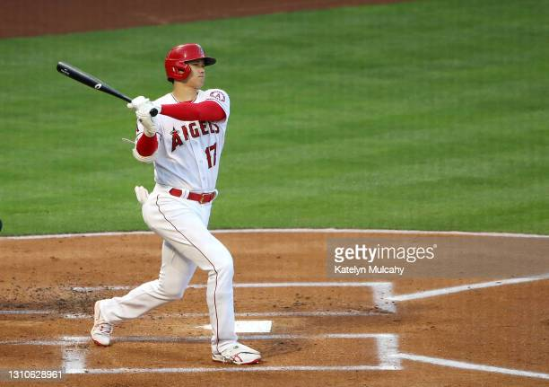 Shohei Ohtani of the Los Angeles Angels at bat against the Chicago White Sox during the game at Angel Stadium of Anaheim on April 02, 2021 in...