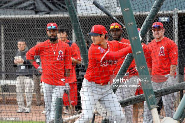 Shohei Ohtani of the Los Angeles Angels at bat during a workout on February 19 2018 in Tempe Arizona