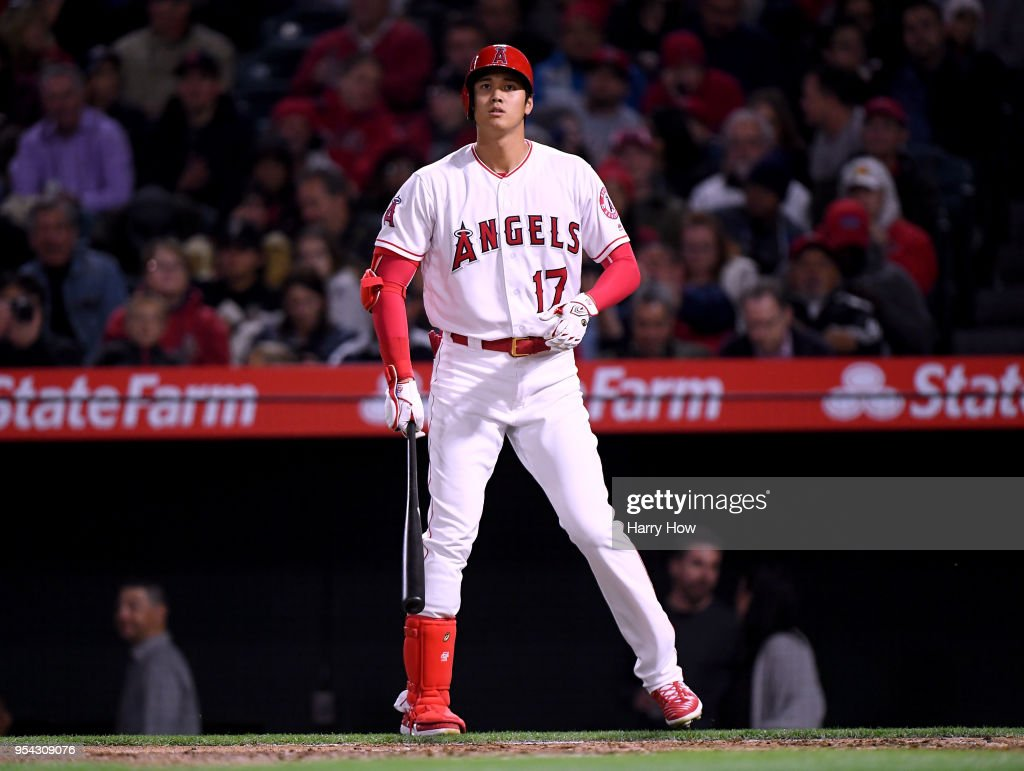 Shohei Ohtani #17 of the Los Angeles Angels at bat during the fourth inning against the Baltimore Orioles at Angel Stadium on May 2, 2018 in Anaheim, California.