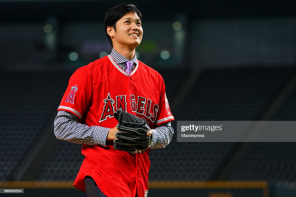 Shohei Ohtani of the Los Angeles Angels attends his farewell event at Sapporo Dome on December 25, 2017 in Sapporo, Hokkaido, Japan.