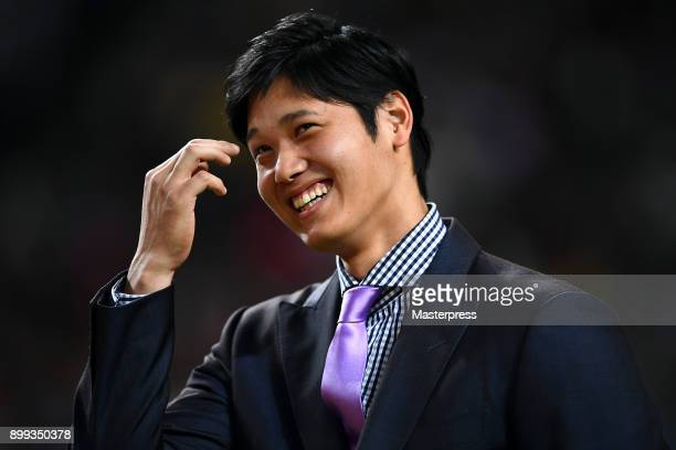 Shohei Ohtani of the Los Angeles Angels attends his farewell event at Sapporo Dome on December 25 2017 in Sapporo Hokkaido Japan