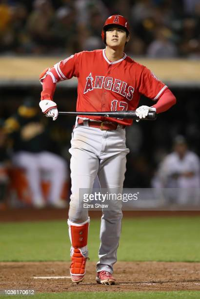 Shohei Ohtani of the Los Angeles Angels bats against the Oakland Athletics at Oakland Alameda Coliseum on September 18 2018 in Oakland California