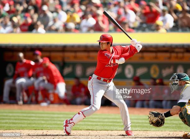 Shohei Ohtani of the Los Angeles Angels bats against the Oakland Athletics at Oakland Alameda Coliseum on March 29 2018 in Oakland California