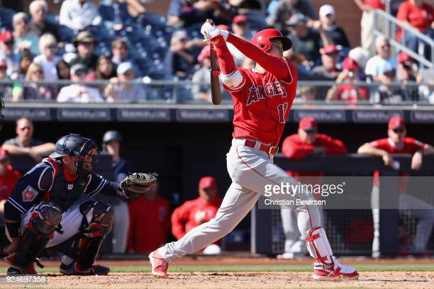Shohei Ohtani of the Los Angeles Angels bats against the San Diego Padres during the third inning of the spring training game at Peoria Stadium on...