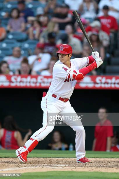 Shohei Ohtani of the Los Angeles Angels bats during the game against the Houston Astros at Angel Stadium on July 21 2018 in Anaheim California The...