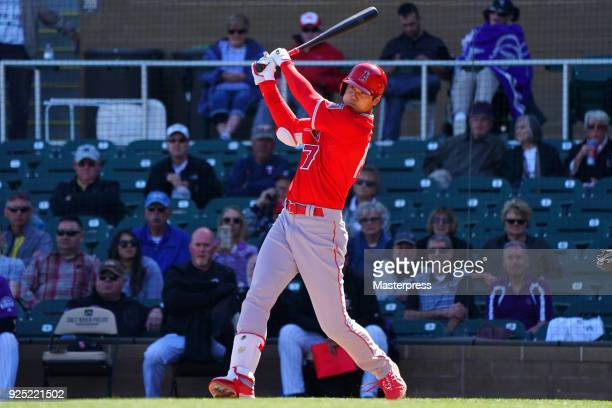 Shohei Ohtani of the Los Angeles Angels bats during the game against the Colorado Rockies on February 27 2018 in Peoria Arizona