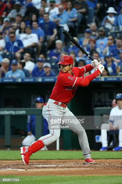 Shohei Ohtani of the Los Angeles Angels bats during the game against the Kansas City Royals at Kauffman Stadium on April 12 2018 in Kansas City...
