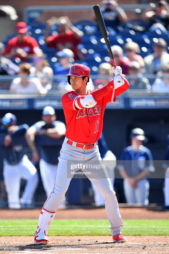 Shohei Ohtani of the Los Angeles Angels bats during the game between Sand Diego Padres and Los Angeles Angels on February 26, 2018 in Peoria, Arizona.