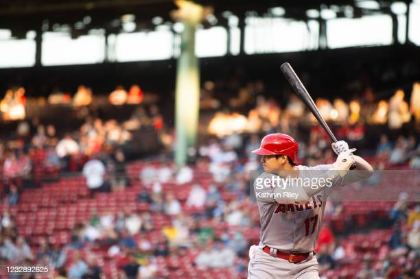 Shohei Ohtani of the Los Angeles Angels bats in the first inning against the Boston Red Sox at Fenway Park on May 14, 2021 in Boston, Massachusetts.