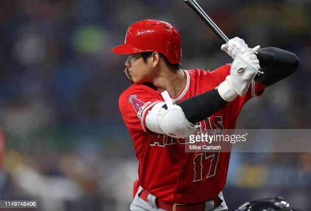 Shohei Ohtani of the Los Angeles Angels bats in the third inning of a baseball game against the Tampa Bay Rays at Tropicana Field on June 13, 2019 in...