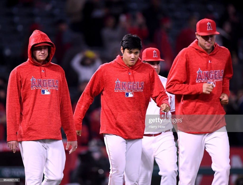 Shohei Ohtani #17 of the Los Angeles Angels comes on to the field to celebrate a 10-7 win over the Baltimore Orioles at Angel Stadium on May 2, 2018 in Anaheim, California.