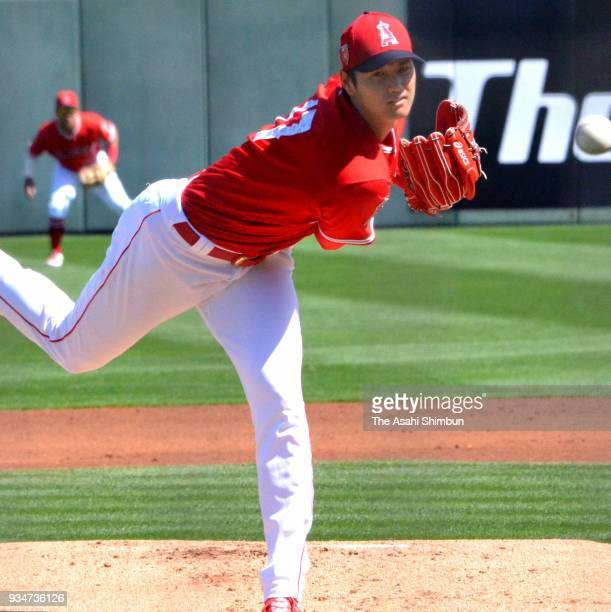 Shohei Ohtani of the Los Angeles Angels delivers a pitch during a spring training on March 9 2018 in Tempe Arizona
