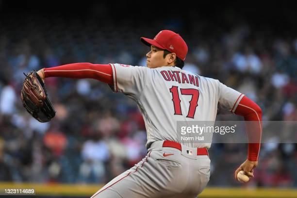 Shohei Ohtani of the Los Angeles Angels delivers a second inning pitch against the Arizona Diamondbacks at Chase Field on June 11, 2021 in Phoenix,...