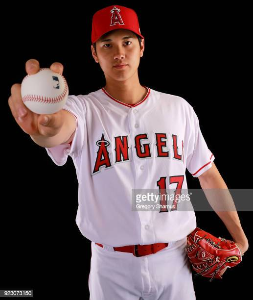 Shohei Ohtani of the Los Angeles Angels from Japan poses during Los Angeles Angels Photo Day at Tempe Diablo Stadium on February 22 2018 in Tempe...