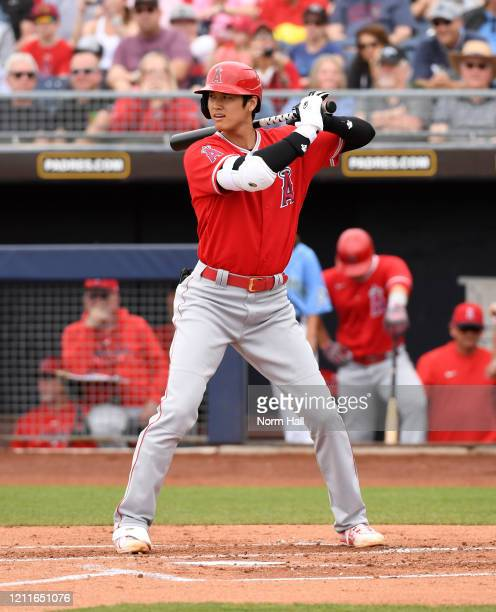 Shohei Ohtani of the Los Angeles Angels gets ready in the batters box during the second inning of a spring training game against the Seattle Mariners...