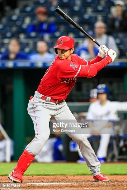 Shohei Ohtani of the Los Angeles Angels gets ready to swing at the ball during the second inning against the Kansas City Royals at Kauffman Stadium...