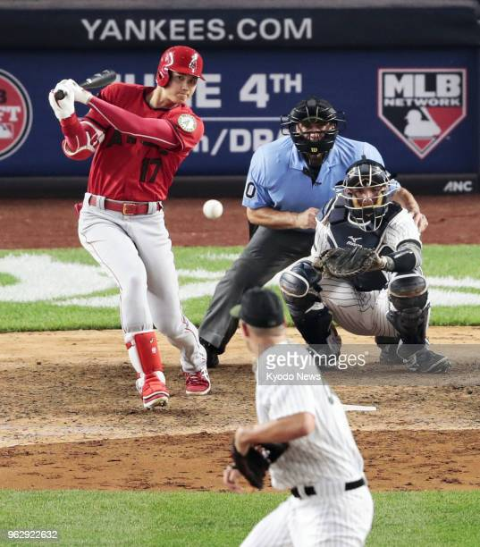 Shohei Ohtani of the Los Angeles Angels grounds out in the eighth inning of a game against the New York Yankees at Yankee Stadium in New York on May...