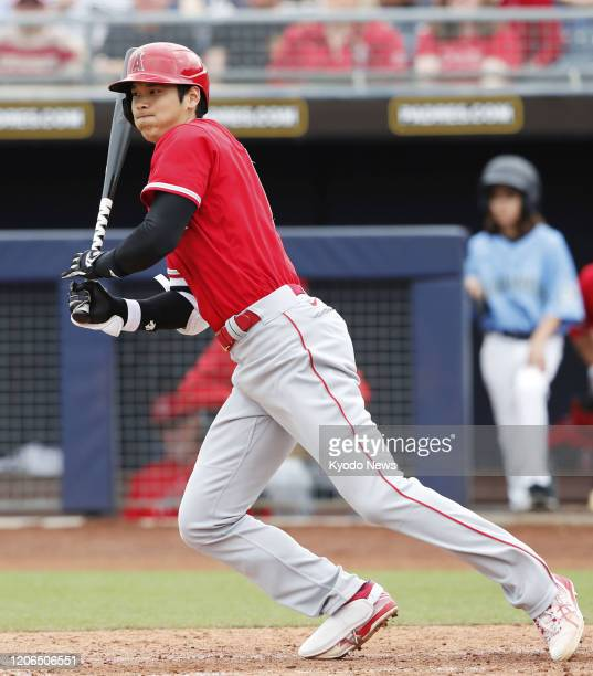 Shohei Ohtani of the Los Angeles Angels grounds out in the fourth inning of a spring training game against the Seattle Mariners on March 10 in Peoria...