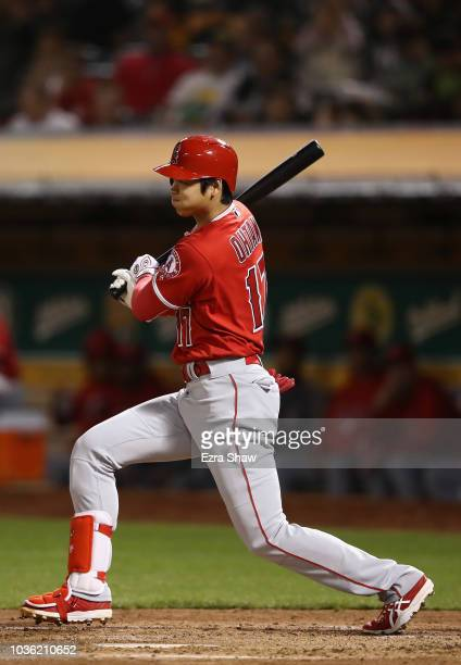 Shohei Ohtani of the Los Angeles Angels grounds out in the fourth inning against the Oakland Athletics at Oakland Alameda Coliseum on September 19...