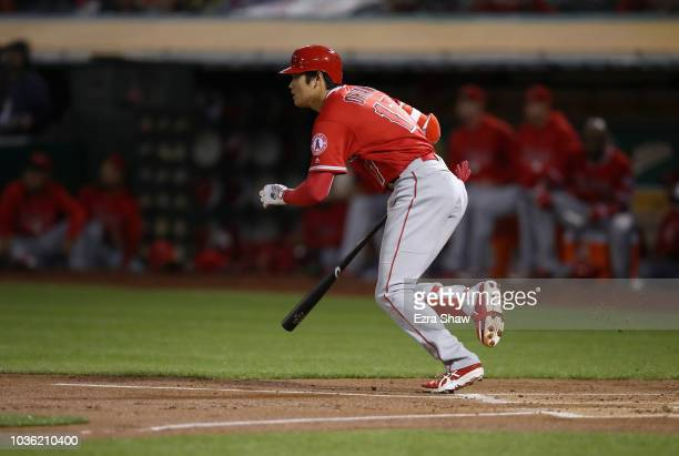 Shohei Ohtani of the Los Angeles Angels grounds out in the second inning against the Oakland Athletics at Oakland Alameda Coliseum on September 19...