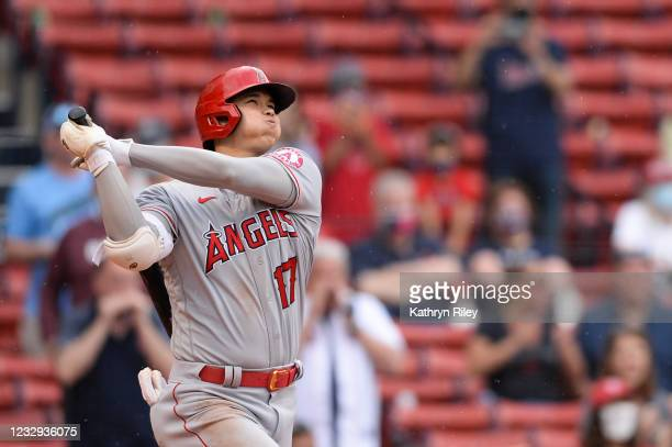 Shohei Ohtani of the Los Angeles Angels hits a game-winning two-run home run in the ninth inning against the Boston Red Sox at Fenway Park on May 16,...