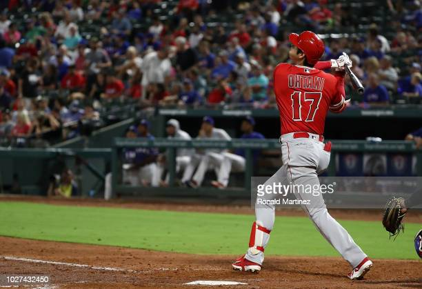 Shohei Ohtani of the Los Angeles Angels hits a homerun against the Texas Rangers in the fifth inning at Globe Life Park in Arlington on September 5...