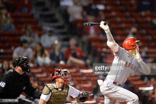 Shohei Ohtani of the Los Angeles Angels hits a solo home run in the sixth inning against the Boston Red Sox at Fenway Park on May 14, 2021 in Boston,...