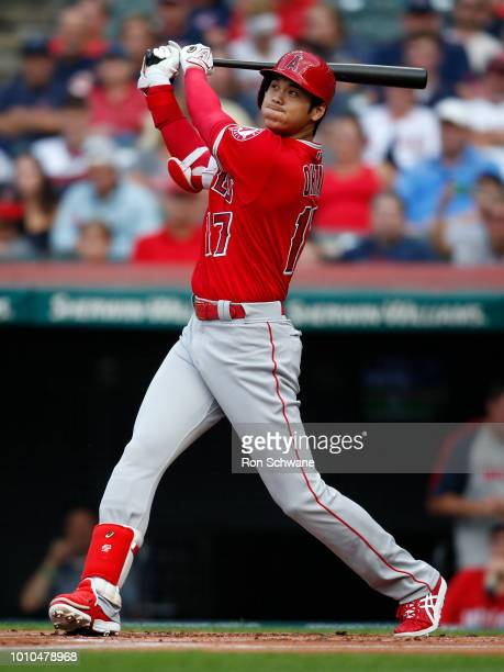 Shohei Ohtani of the Los Angeles Angels hits a two run home run off Mike Clevinger of the Cleveland Indians during the first inning at Progressive...