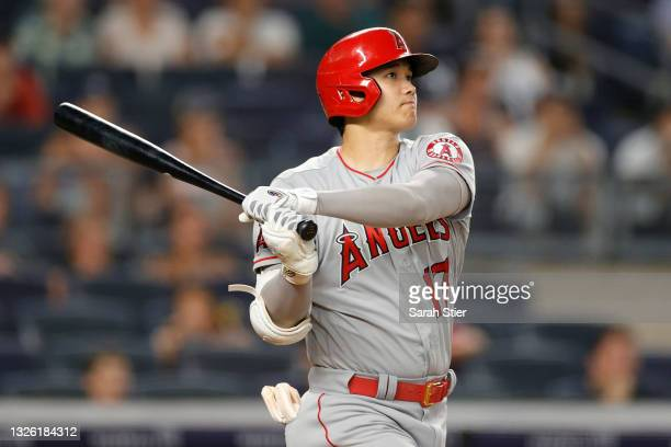 Shohei Ohtani of the Los Angeles Angels hits a two-run home run during the fifth inning against the New York Yankees at Yankee Stadium on June 29,...
