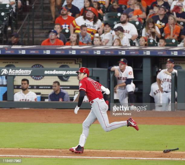 Shohei Ohtani of the Los Angeles Angels hits a two-run home run in the third inning of a game against the Houston Astros on July 7 at Minute Maid...