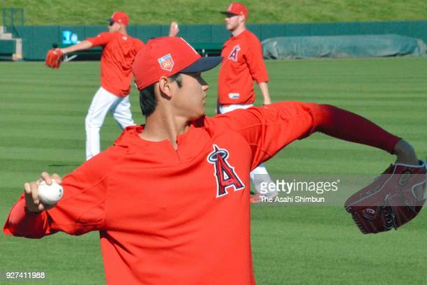 Shohei Ohtani of the Los Angeles Angels in action during a spring training on March 3 2018 in Tempe Arizona
