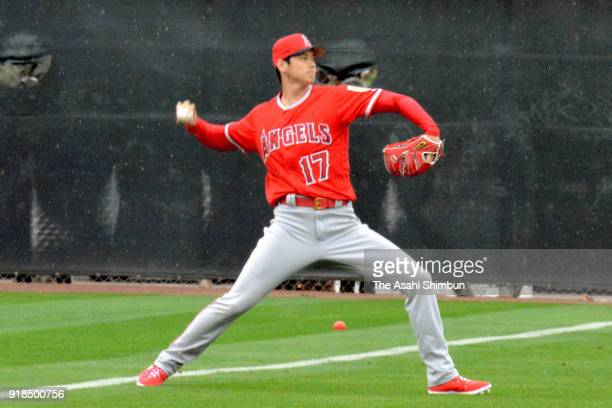 Shohei Ohtani of the Los Angeles Angels in action during a workout on February 14 2018 in Tempe Arizona