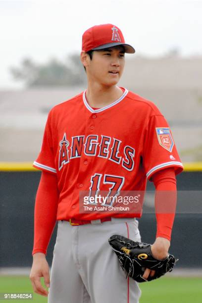 Shohei Ohtani of the Los Angeles Angels in action during a workout on February 15 2018 in Tempe Arizona