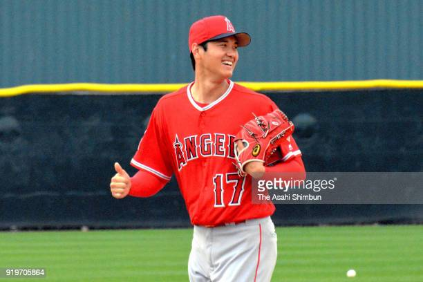Shohei Ohtani of the Los Angeles Angels in action during a workout on February 16 2018 in Tempe Arizona