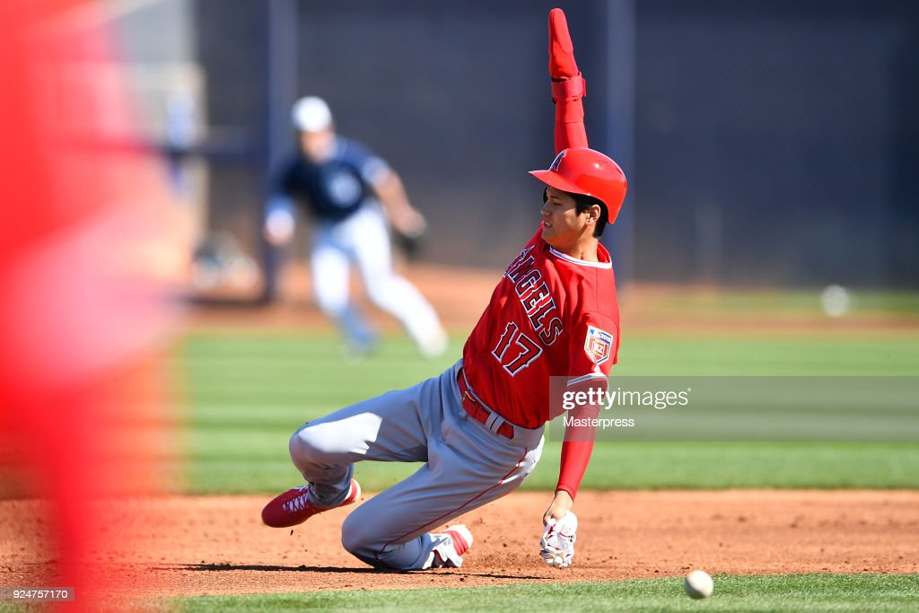Shohei Ohtani of the Los Angeles Angels in action during the game between Sand Diego Padres and Los Angeles Angels on February 26, 2018 in Peoria, Arizona.