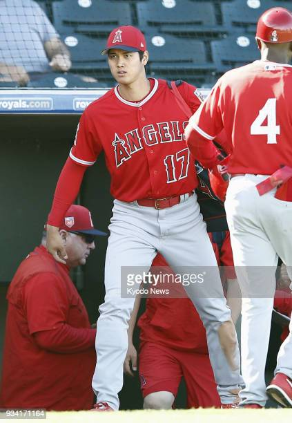 Shohei Ohtani of the Los Angeles Angels is pictured after a spring training game against the Texas Rangers in Surprise Arizona on March 18 2018 The...