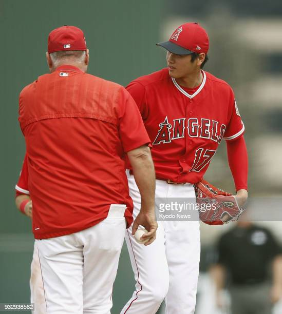Shohei Ohtani of the Los Angeles Angels is pictured during a spring training game against the Colorado Rockies in Tempe Arizona on March 16 2018...