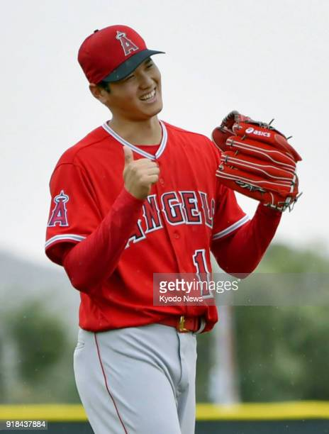 Shohei Ohtani of the Los Angeles Angels is pictured during practice at the club's spring training site in Tempe Arizona on Feb 14 2018 ==Kyodo