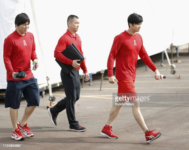 Shohei Ohtani of the Los Angeles Angels is pictured in Tempe Arizona on Feb 13 the first day of the team's spring training camp ==Kyodo