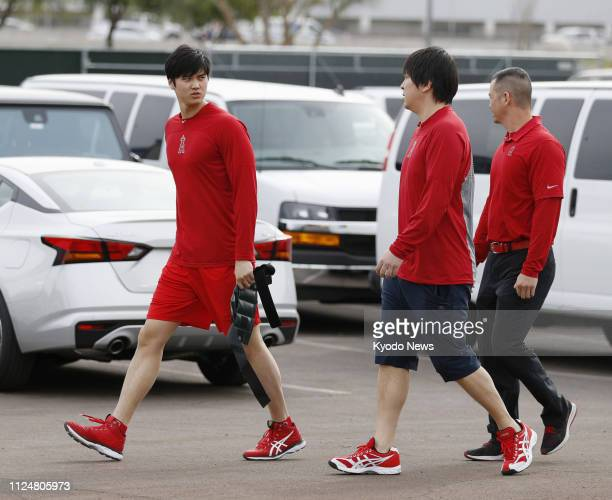 Shohei Ohtani of the Los Angeles Angels is pictured near a training site at the team's spring camp in Tempe Arizona on Feb 13 2019 ==Kyodo