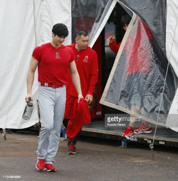 Shohei Ohtani of the Los Angeles Angels is pictured near the site of the team's spring training camp in Tempe Arizona on Feb 14 2019 ==Kyodo