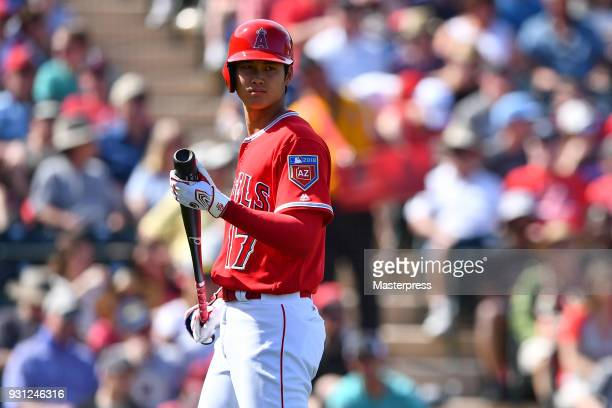 Shohei Ohtani of the Los Angeles Angels is seen during a spring training game between Cincinnati Reds and Los Angeles Angels on March 12 2018 in...