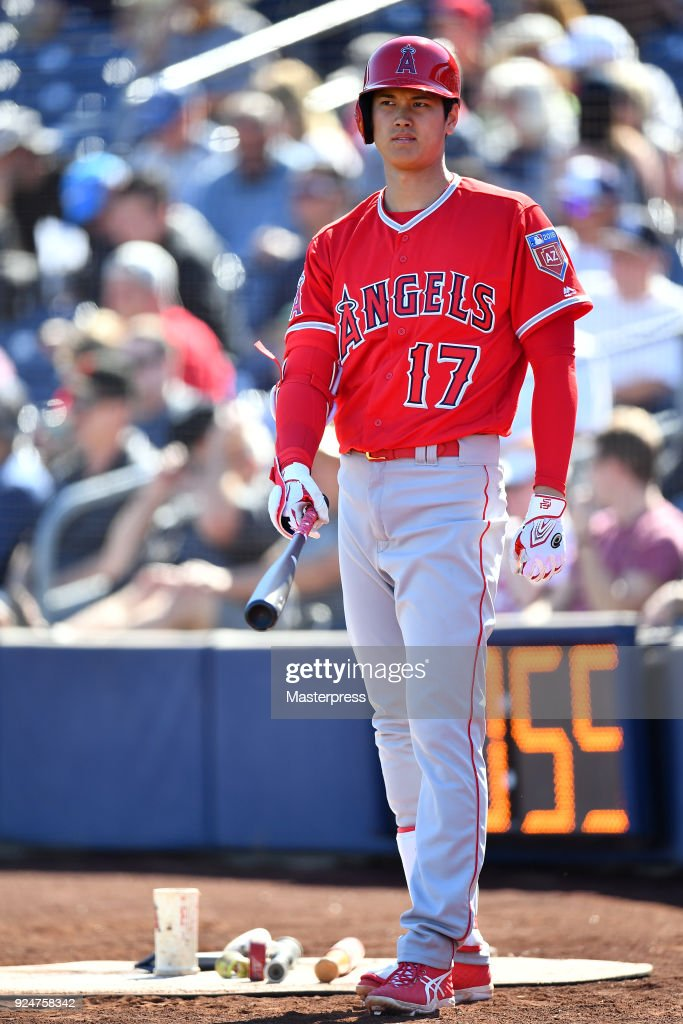 Shohei Ohtani of the Los Angeles Angels is seen during the game between Sand Diego Padres and Los Angeles Angels on February 26, 2018 in Peoria, Arizona.