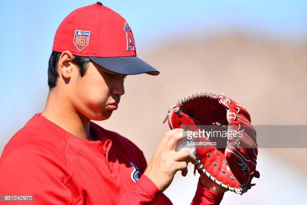 Shohei Ohtani of the Los Angeles Angels is seen prior to the spring training game between Cincinnati Reds and Los Angeles Angels on March 12 2018 in...